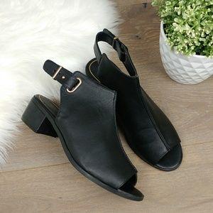 Topshop Slingback Block Heel Peep Toe Sandal